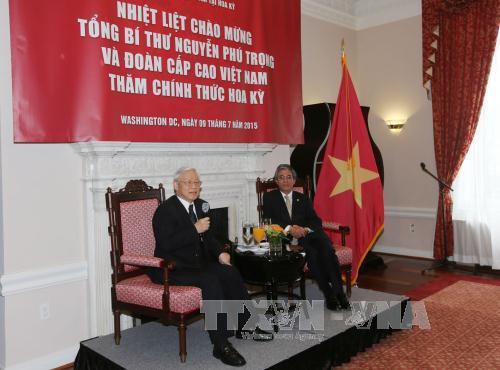 Tổng Bí thư Nguyễn Phú Trọng đến thăm Đại sứ quán Việt Nam tại Mỹ - Ảnh 1