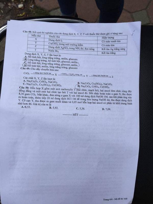 Đáp án đề thi môn Hóa học mã đề 468 THPT quốc gia năm 2016 - Ảnh 7