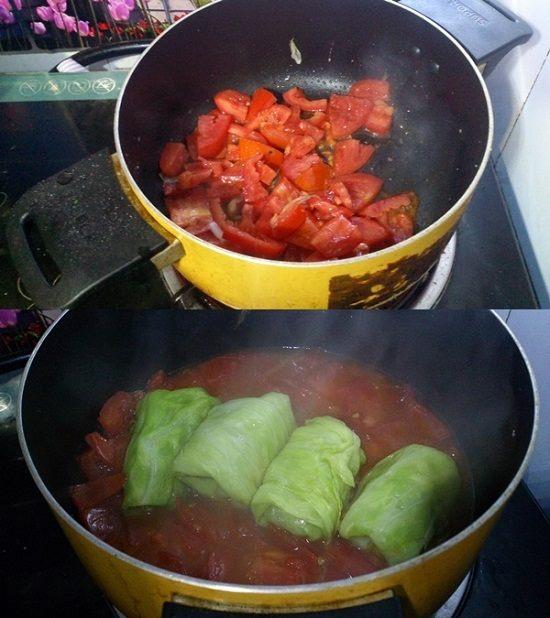 Bắp cải cuộn thịt sốt cà chua cho ngày cuối tuần - Ảnh 3