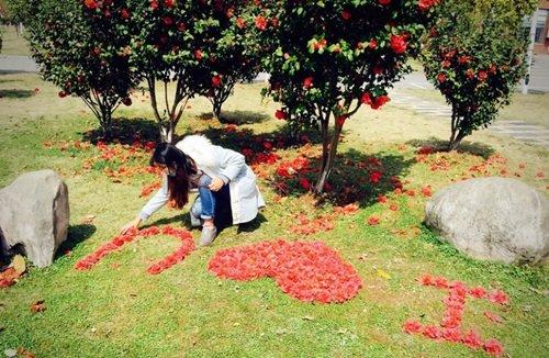 Nữ sinh xinh đẹp xếp hoa tỏ tình với bạn trai phương xa - Ảnh 1