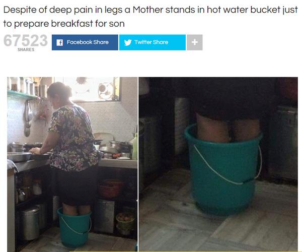 Người mẹ đứng trong xô nước nóng để nấu bữa ăn sáng cho con - Ảnh 2