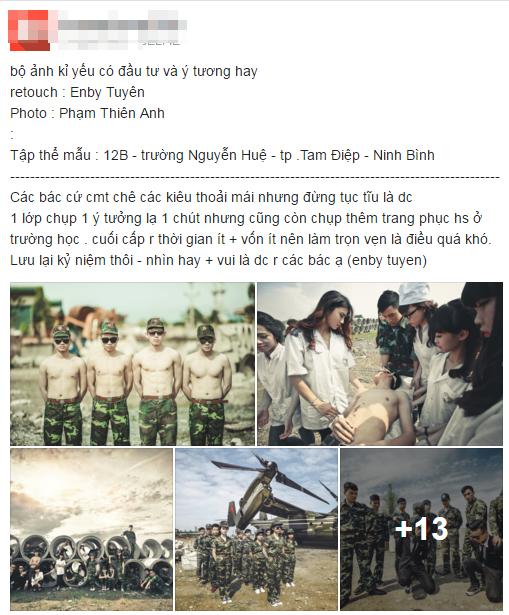 """Ảnh kỷ yếu """"Hậu duệ mặt trời"""" của teen Ninh Bình nhiều người khen, lắm kẻ chê - Ảnh 1"""