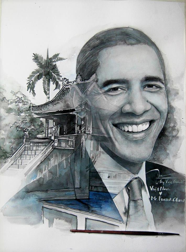 Dân mạng ngưỡng mộ chàng trai trẻ thức 2 đêm vẽ tranh tặng Tổng thống Obama - Ảnh 1