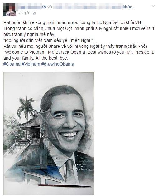 Dân mạng ngưỡng mộ chàng trai trẻ thức 2 đêm vẽ tranh tặng Tổng thống Obama - Ảnh 2