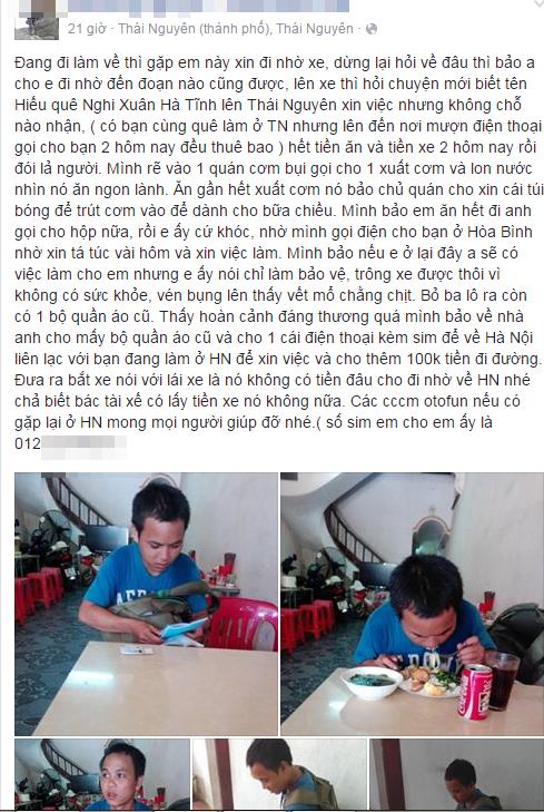 Câu chuyện về cậu bé không tiền, không xin được việc, lang thang đói 'lả người' - Ảnh 1