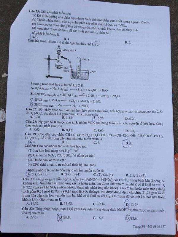 Đáp án đề thi môn Hóa học mã đề 357 THPT quốc gia năm 2016 - Ảnh 4