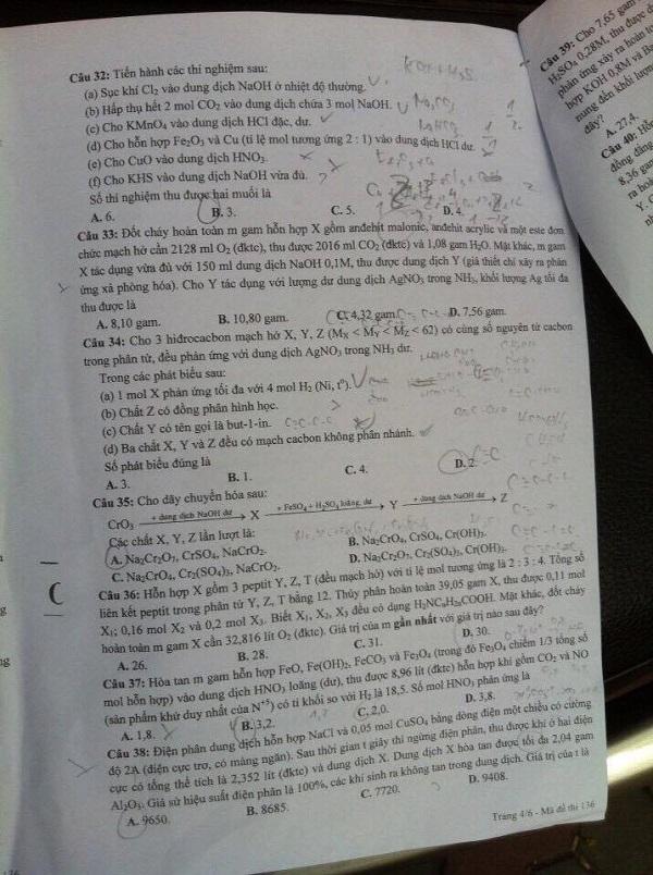 Đáp án đề thi môn Hóa học mã đề 136 THPT quốc gia năm 2016 - Ảnh 5