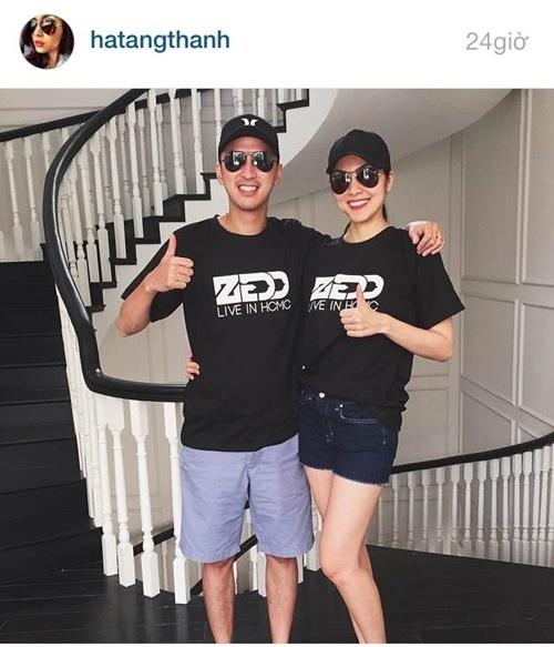 Tăng Thanh Hà - Louis Nguyễn mặc áo đôi cười đầy hạnh phúc - Ảnh 1