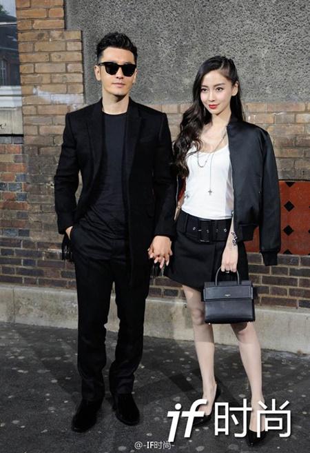 Vợ chồng Angelababy - Huỳnh Hiểu Minh cực ngầu tại Paris Fashion Week - Ảnh 1