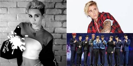 """Miley Cyrus """"tai bay vạ gió"""" vì cuộc chiến của fan EXO và fan Justin Bieber - Ảnh 1"""