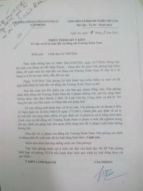 Lái xe công vụ gây tai nạn, nhân viên thuộc Sở VH-TTDL Nghệ An bị cảnh cáo - Ảnh 1