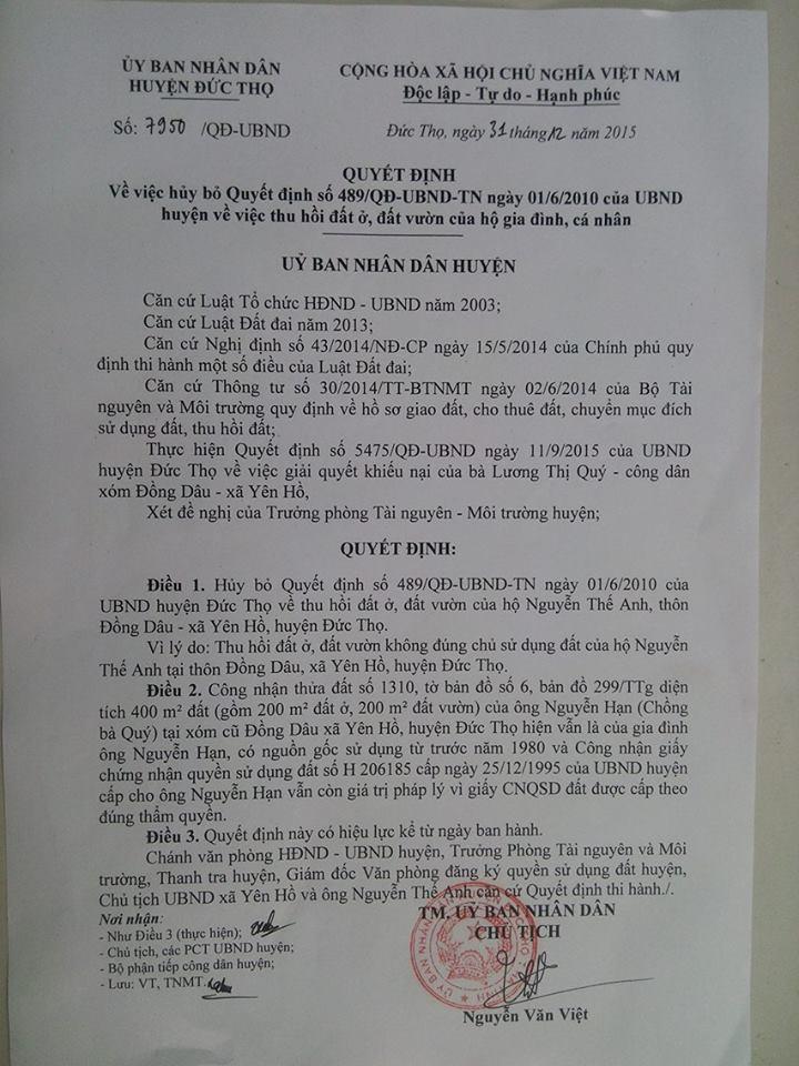Hà Tĩnh: Thu hồi đất không đúng chủ sử dụng, UBND huyện thừa nhận sai sót - Ảnh 5