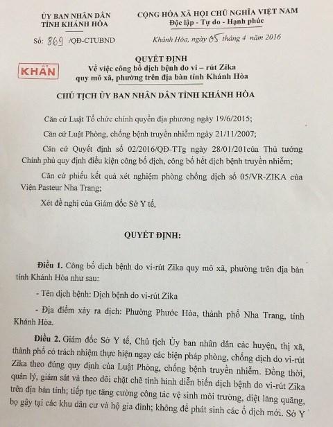 Tỉnh Khánh Hòa công bố dịch khẩn cấp do virus Zika - Ảnh 2