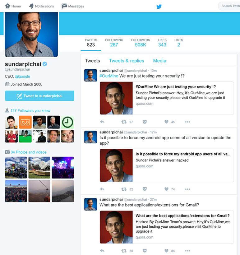 """CEO Google bị hacker """"hỏi thăm"""" tài khoản mạng xã hội - Ảnh 1"""