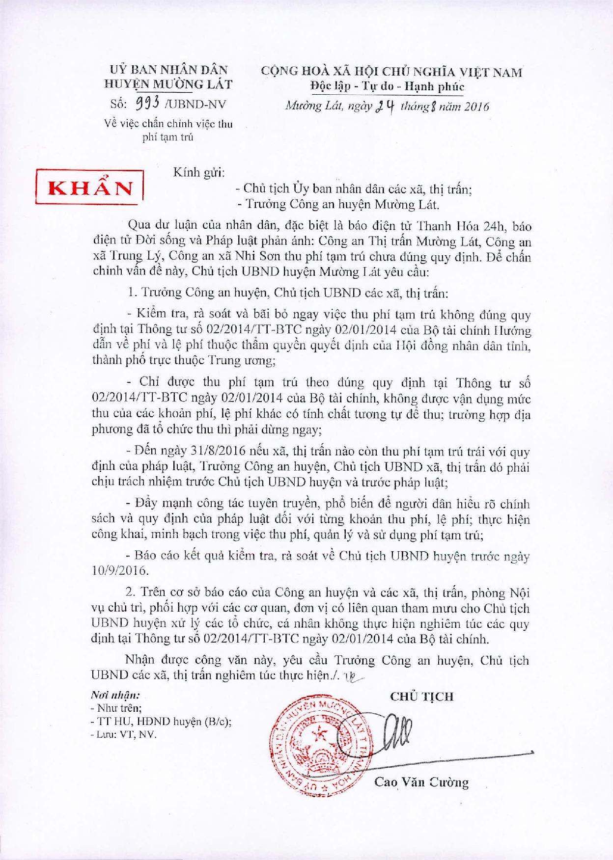 Thanh Hóa: Chủ tịch UBND huyện Mường Lát chỉ đạo xử lý nghiêm vụ thu phí tạm trú - Ảnh 2