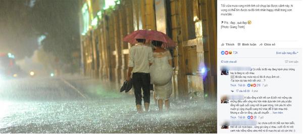 Cặp đôi hoàn cảnh bất chấp mưa bão chụp ảnh cưới trên phố - Ảnh 1