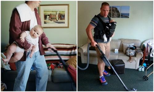 Những hình ảnh ngộ nghĩnh khi các bậc cha mẹ chăm sóc con nhỏ - Ảnh 11