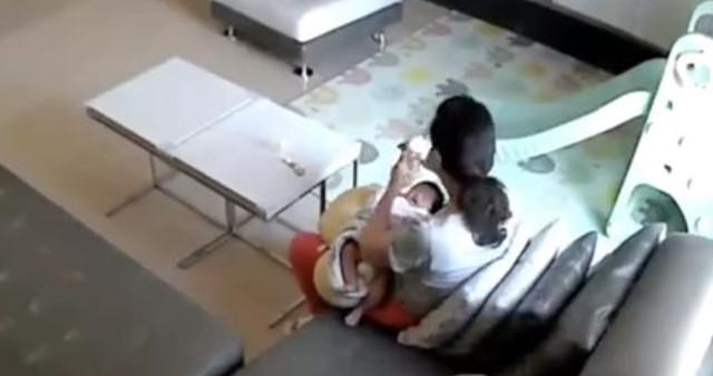 Bà trông trẻ tu ừng ực sữa của chủ nhà vắt dành cho con - Ảnh 1