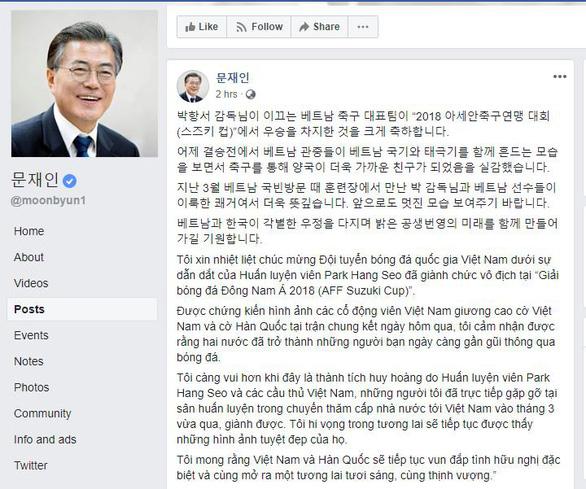 Tổng thống Hàn Quốc chúc mừng đội tuyển bóng đá VN và HLV Park bằng tiếng Việt - Ảnh 1
