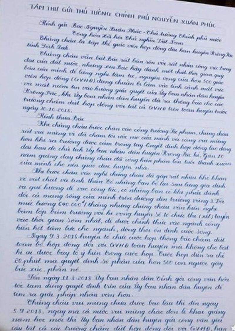 500 trăm giáo viên bị chấm dứt hợp đồng ở Đắk Lắk viết thư gửi Thủ tướng - Ảnh 2
