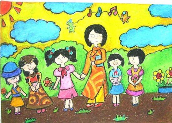 Tranh vẽ ngày 20/11 ấn tượng mà học sinh dành tặng thầy cô giáo - Ảnh 2