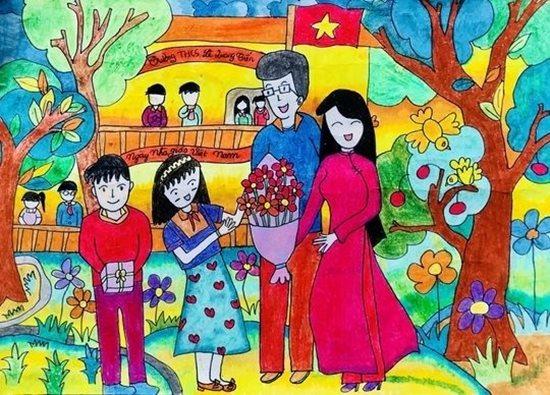 Tranh vẽ ngày 20/11 ấn tượng mà học sinh dành tặng thầy cô giáo - Ảnh 10