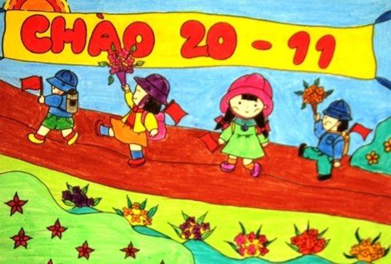 Tranh vẽ ngày 20/11 ấn tượng mà học sinh dành tặng thầy cô giáo - Ảnh 3