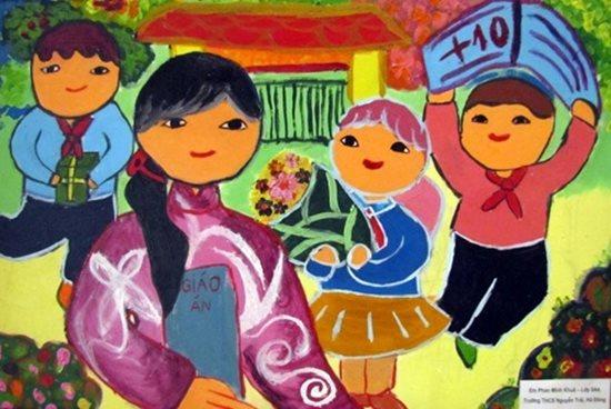 Tranh vẽ ngày 20/11 ấn tượng mà học sinh dành tặng thầy cô giáo - Ảnh 4