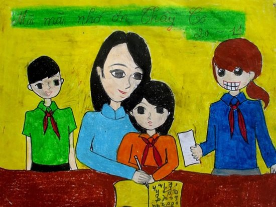 Tranh vẽ ngày 20/11 ấn tượng mà học sinh dành tặng thầy cô giáo - Ảnh 5