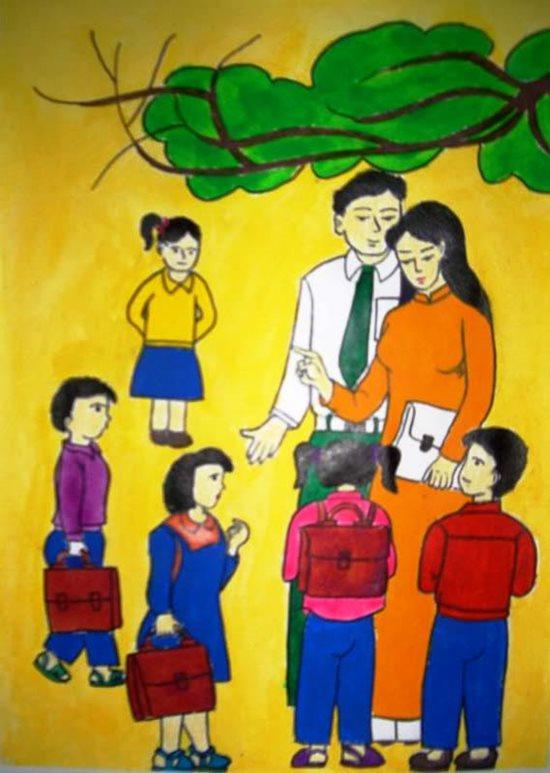 Tranh vẽ ngày 20/11 ấn tượng mà học sinh dành tặng thầy cô giáo - Ảnh 6