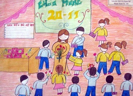 Tranh vẽ ngày 20/11 ấn tượng mà học sinh dành tặng thầy cô giáo - Ảnh 8