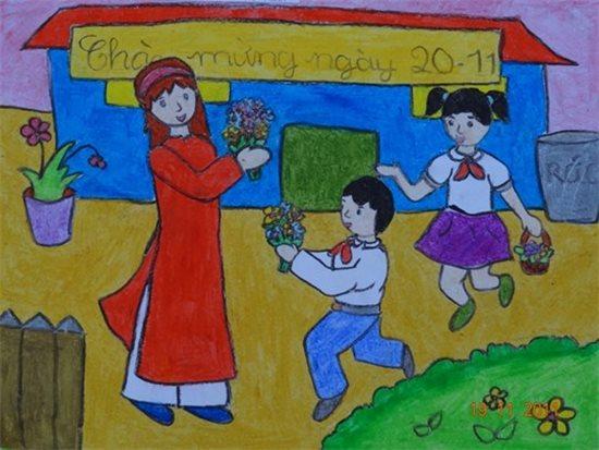 Tranh vẽ ngày 20/11 ấn tượng mà học sinh dành tặng thầy cô giáo - Ảnh 9