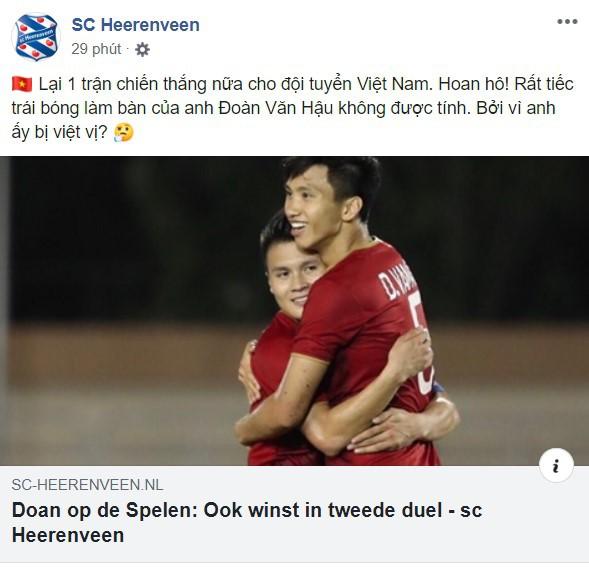 Đội bóng Hà Lan Heerenveen gửi lời chúc mừng Văn Hậu bằng tiếng Việt - Ảnh 1