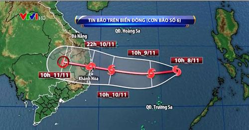 Bão số 6 giật cấp 15 quần thảo trên biển Đông trước khi đổ bộ đất liền Việt Nam trong 2 ngày tới - ảnh 1
