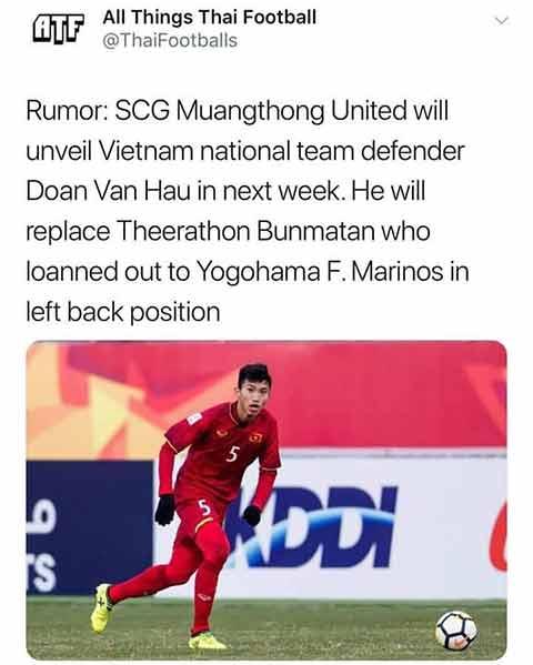 Truyền thông Thái Lan rầm rộ đưa tin Văn Hậu sang thi đấu tại Muangthong United - Ảnh 1