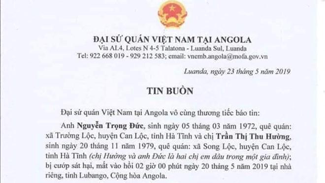 Hai lao động Việt Nam tại Angola bị cướp xông vào nhà sát hại  - Ảnh 1