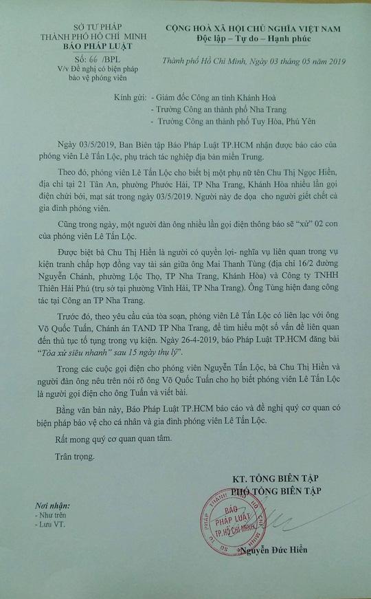 """PV Báo Pháp Luật TP HCM bị đương sự """"vụ kiện trăm tỉ"""" đe dọa giết cả nhà - Ảnh 1"""