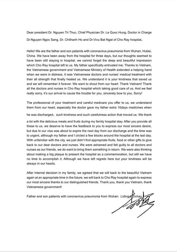 Nội dung thư cảm ơn của bệnh nhân Covid-19 người Trung Quốc gửi bệnh viện Chợ Rẫy - Ảnh 2