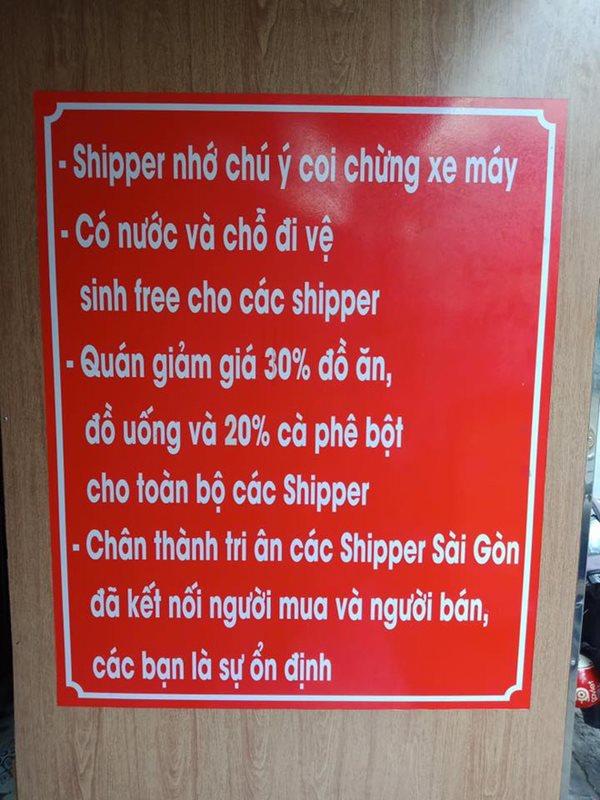 Cánh shipper Sài Gòn cảm động với hành động tri ân của chủ quán - Ảnh 1