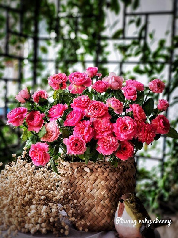 Mẹ trẻ Hà thành gây sốt với trào lưu cắm hoa bằng giỏ cói đẹp mê hồn - Ảnh 10