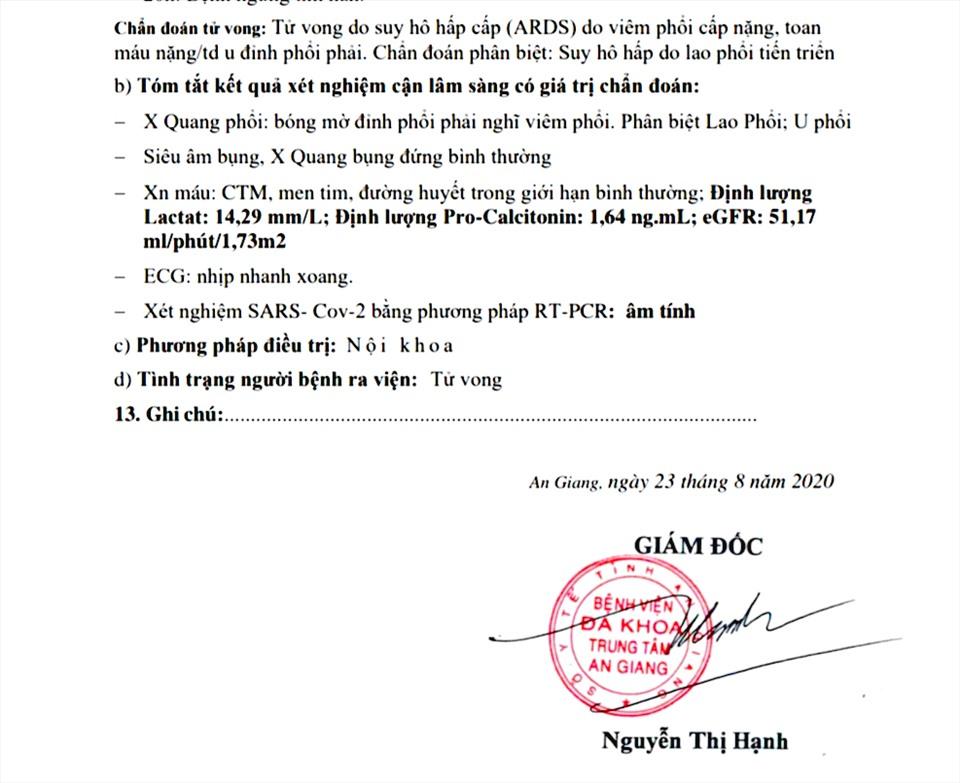 Bệnh nhân tử vong tại bệnh viện ở An Giang không phải do COVID-19 - Ảnh 2