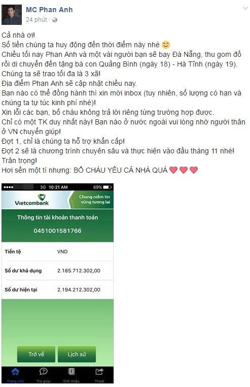 Chưa đầy 24h, MC Phan Anh đã kêu gọi giúp đỡ đồng bào miền Trung được 2,2 tỉ - Ảnh 1