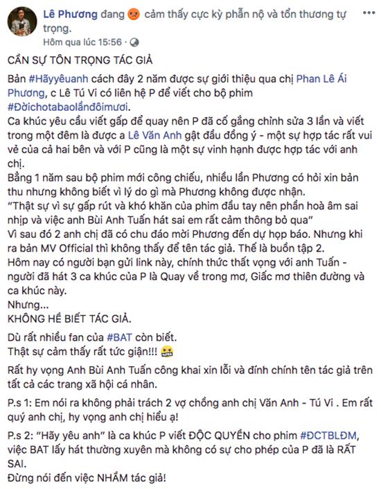 """Nhạc sĩ không chấp nhận lời xin lỗi của Bùi Anh Tuấn khi """"hát nhạc chùa"""" - Ảnh 1"""