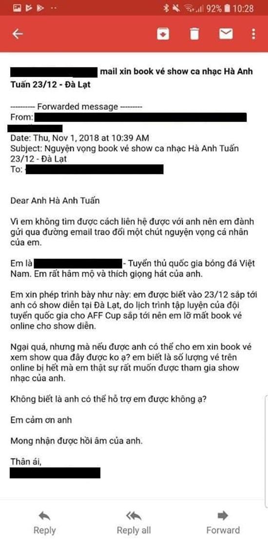 Cầu thủ ĐT Việt Nam viết mail xin mua vé liveshow Hà Anh Tuấn - Ảnh 1