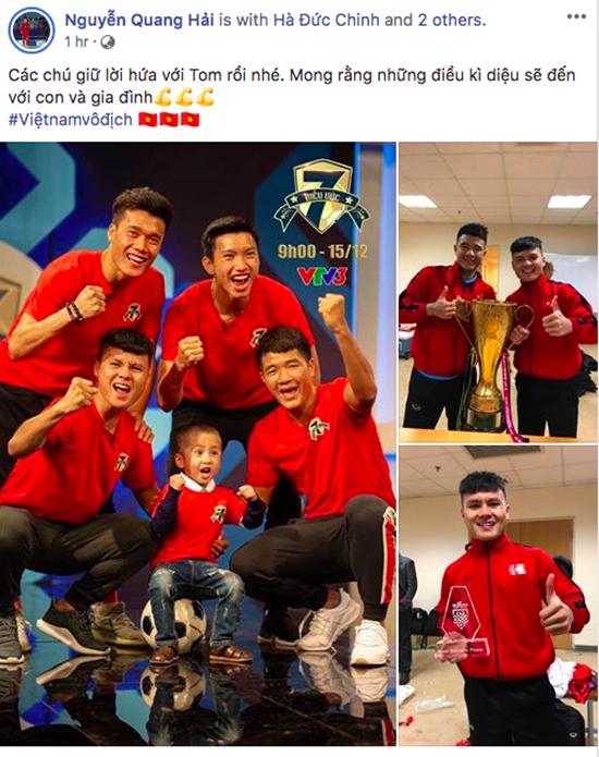 Status xúc động nhất sau khi Việt Nam vô địch của Quang Hải, Văn Hậu gửi tới cậu bé 4 tuổi bị ung thư - Ảnh 2