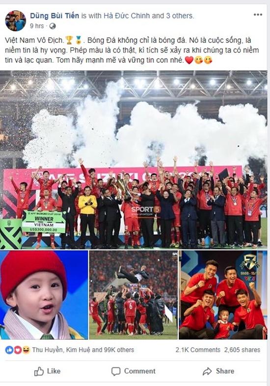 Status xúc động nhất sau khi Việt Nam vô địch của Quang Hải, Văn Hậu gửi tới cậu bé 4 tuổi bị ung thư - Ảnh 3