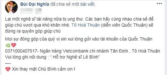 Sao Việt chung tay kêu gọi hỗ trợ nghệ sĩ Lê Bình điều trị ung thư phổi - Ảnh 6
