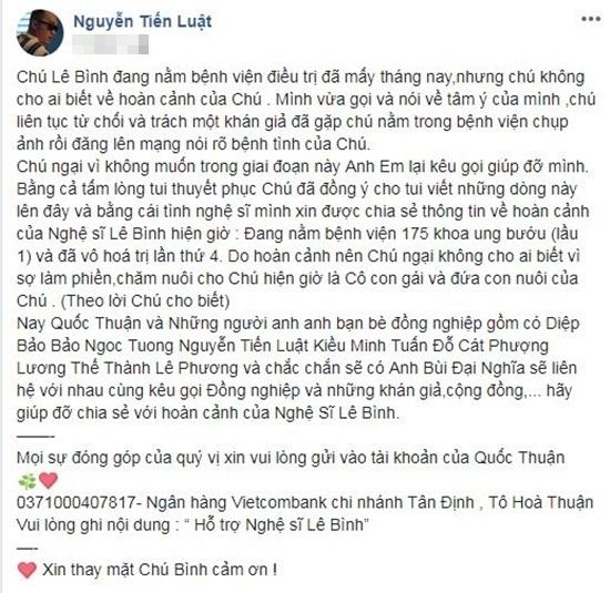Sao Việt chung tay kêu gọi hỗ trợ nghệ sĩ Lê Bình điều trị ung thư phổi - Ảnh 7