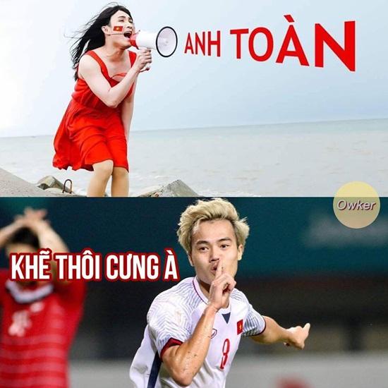"""Ảnh chế Olympic Việt Nam: """"Bức tường"""" Tiến Dũng và """"cầu thủ cao tuổi nhất"""" Văn Toàn - Ảnh 3"""