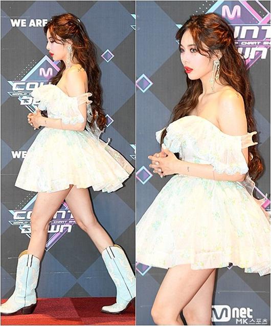 HyunA diện váy ngắn, trễ vai khoe vẻ gợi cảm khó cưỡng trên thảm đỏ - Ảnh 2